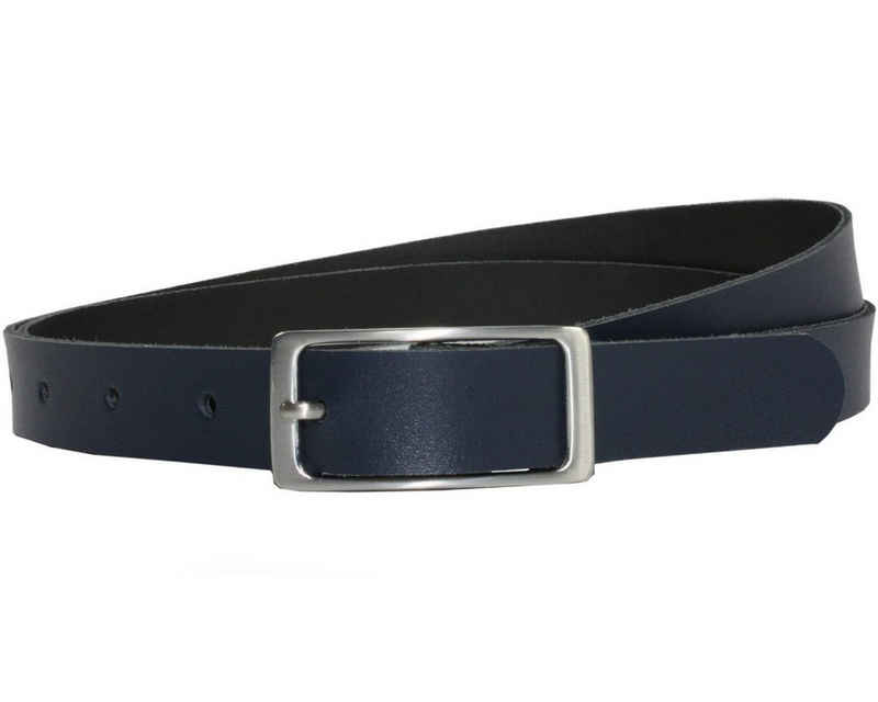 COLOGNEBELT Ledergürtel »A1-SL« Dunkelblauer Ledergürtel im klassischen Design, mit silberner eckiger Gürtelschnalle