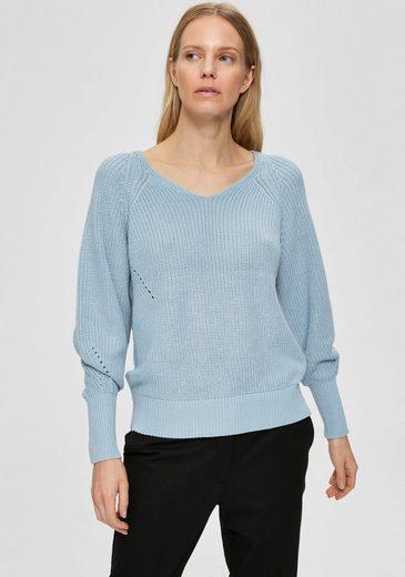 SELECTED FEMME V-Ausschnitt-Pullover »SLFEMMY« mit dekorativer Lochstickerei