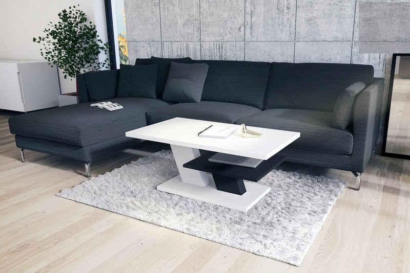Mazzoni Couchtisch »Design Couchtisch Cliff Weiß matt / Schwarz matt Tisch Wohnzimmertisch 110x60x45cm mit Ablagefläche«
