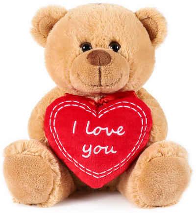 BRUBAKER Kuscheltier »Teddybär mit I Love You Herz« (1-St), Plüschtier mit Liebesbotschaft