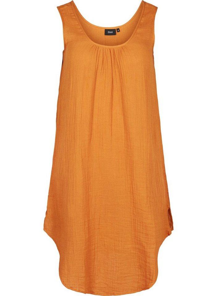 zizzi -  Sommerkleid Große Größen Damen Ärmelloses Kleid aus Baumwolle mit Rundhals
