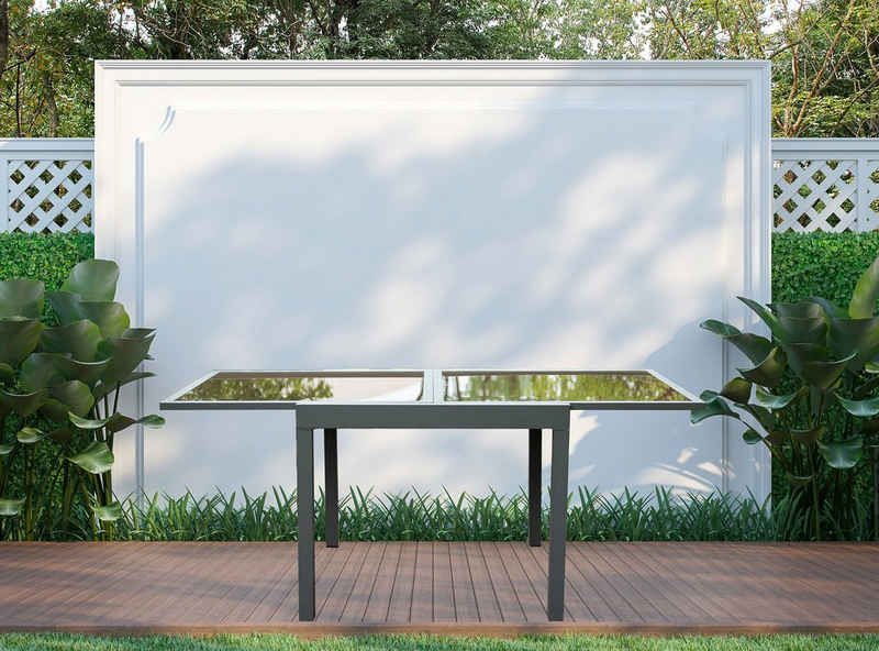 HOME DELUXE Gartentisch »Verano«, Gartentisch ausziehbar - ca. 90(180) x90x75 cm - inkl. Zubehör