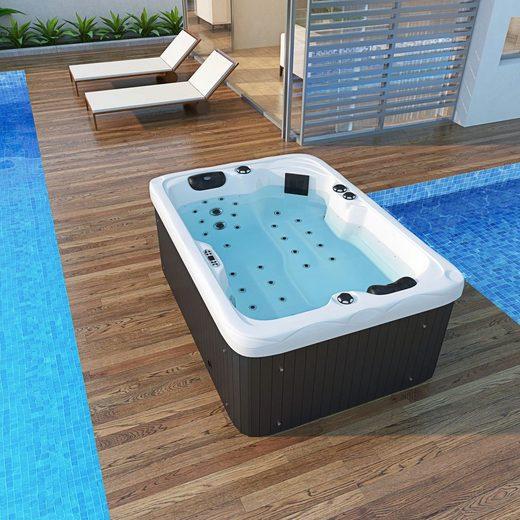 TroniTechnik Whirlpool »Outdoor Whirlpool LEVANZO weiß 195x135x77«, mit BLUETOOTH-Soundsystem inkl. zwei Lautsprechern, Marken- Steuereinheit mit integrierter Heizungs-, Whirlpool-, Licht,- und Pumpensteuerung