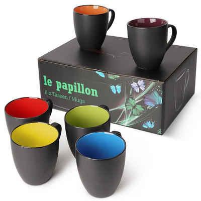 MiaMio Kaffeeservice »6 x 350ml Kaffeetassen Set Le Papillon«, Keramik