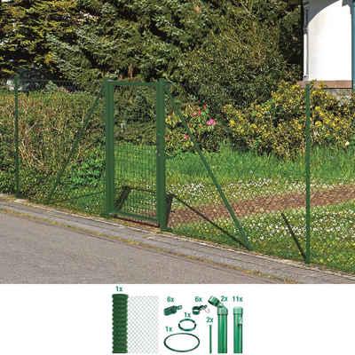 GAH Alberts Maschendrahtzaun, (Set), 150 cm hoch, 25 m, grün beschichtet, zum Einbetonieren