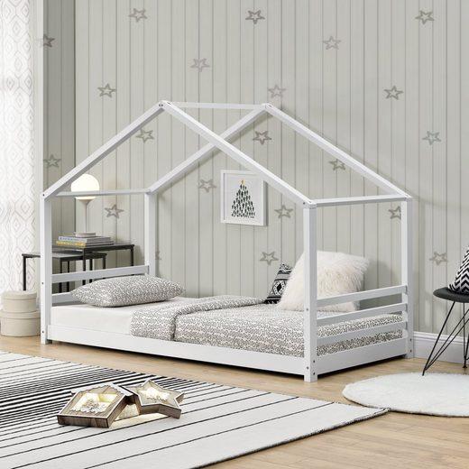 en.casa Kinderbett, »Hausbett mit Zaun« 90x200cm aus Kiefernholz in weiß