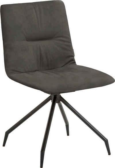 W.SCHILLIG Polsterstuhl »lotta«, mit Rückensteppung, Kreuzfuß in Schwarz pulverbeschichtet, optional mit Drehfunktion & Rückholfeder