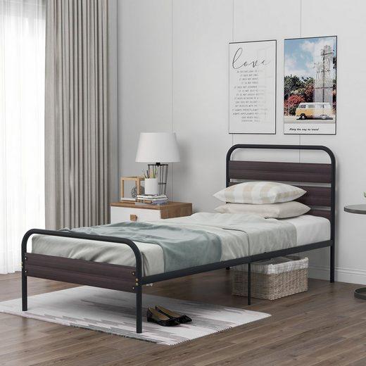 Masbekte Metallbett »Bettgestell«, Einzelbett mit Kopfteil und Trittbrett aus Holz (90 x 200 cm)