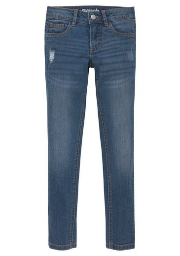 Bench. Stretch-Jeans mit dezenten Abriebeffekten in Super Skinny