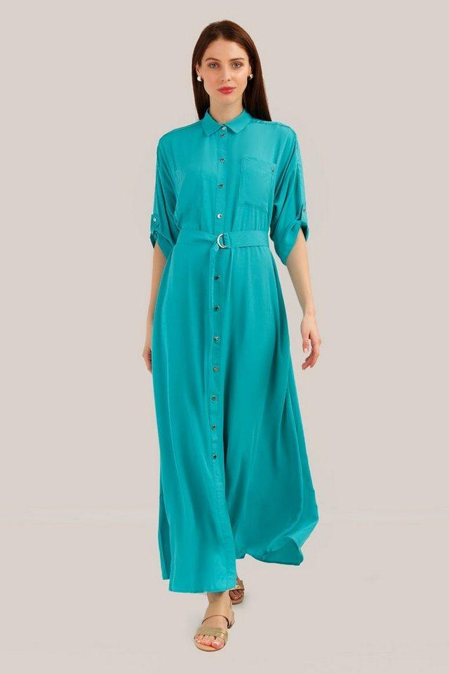 finn flare -  Jerseykleid mit Stoffgürtel in Longform