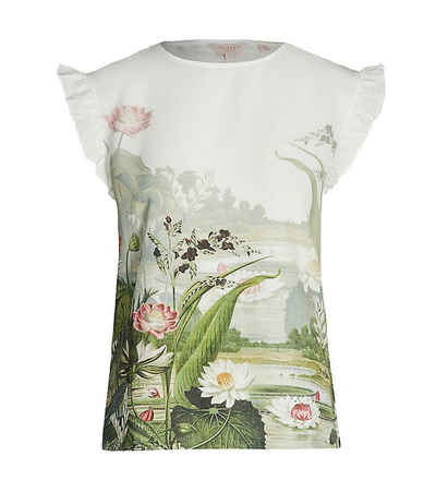 Ted Baker Shirttop »TED BAKER LONDON T-Shirt luftiges Damen Blumen-Shirt mit Volant am Ärmel Freizeit-Shirt Weiß«
