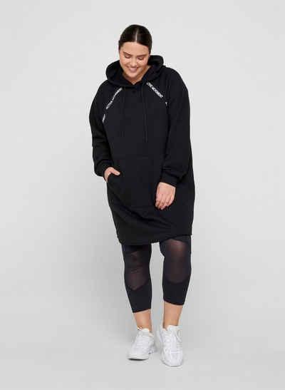 Active by ZIZZI Sweatkleid Große Größen Damen Sweatkleid mit Tasche, Kapuze und langen Ärmeln