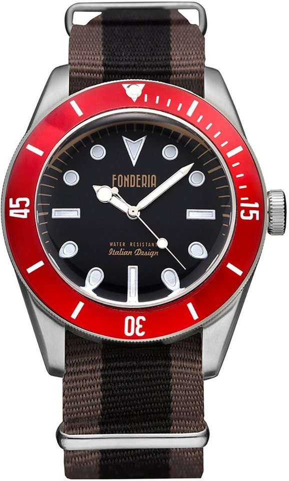 fonderia -  Quarzuhr »UAP8A002UNR  Herren Uhr P-8A002UNR Textil«, (Analoguhr), Herren Armbanduhr rund, braun, schwarz, schwarz