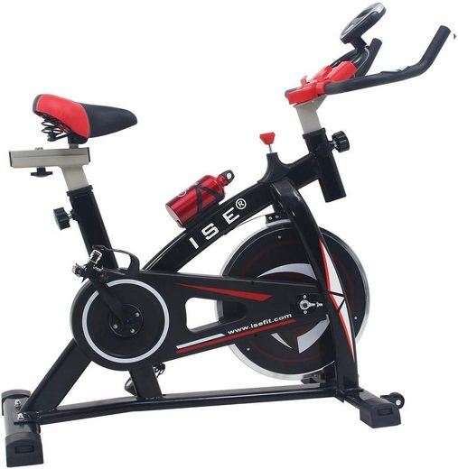 ISE Fitnessbike »Indoor Cycle Heimtrainer mit LCD Anzeige,Armauflage,gepolsterte,9kg Schwungrad,Fitnessbike Speedbike mit flüsterleise Riemenantrieb-Fahrrad bis 135Kg SY-7802«, 1 Gang