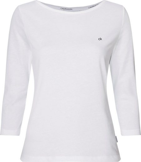 Calvin Klein T-Shirt »3/4 SLV BOATNECK TOP« mit kleinem CK Monogramm auf der Brust