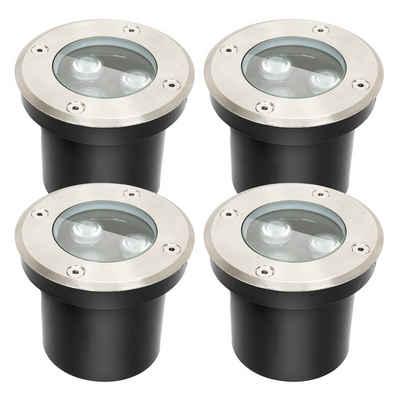 Einfeben Gartenstrahler »4x 3W LED Bodenleuchte Bodenstrahler Aussen-Beleuchtung IP67 Rund Beleuchtung«