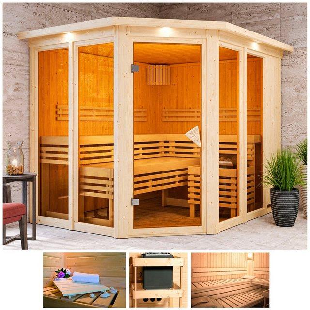 Saunen und Zubehör - KARIBU Sauna »Aaina 3«, 245x210x202 cm, ohne Ofen, Dachkranz  - Onlineshop OTTO