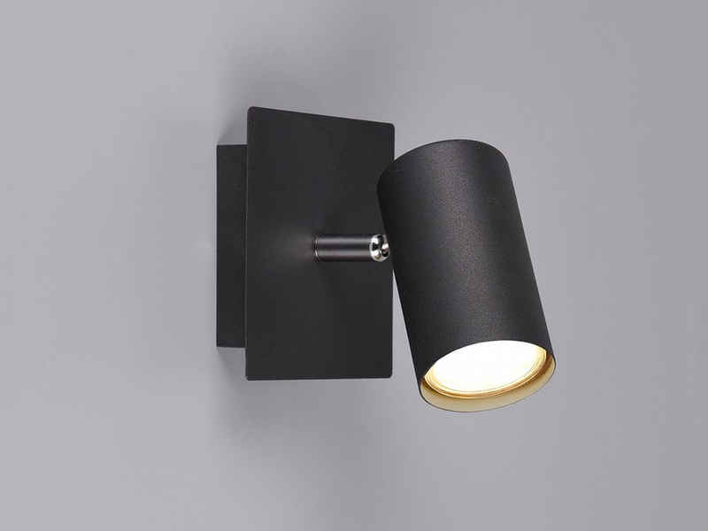 meineWunschleuchte LED Wandstrahler, innen, Wand-Lampe Schwarz matt, einflammig, Lichtspots schwenkbar, Flurbeleuchtung