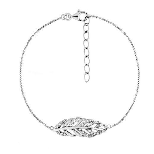 Smart Jewel Armband »Blatt mit Zirkonia Steine, Silber 925«