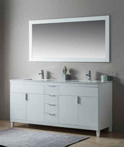 Emotion Waschtisch »Landhausstil 2tlg Set Elba 180 weiss Holz lackiert Carrara Marmor vormontiert«