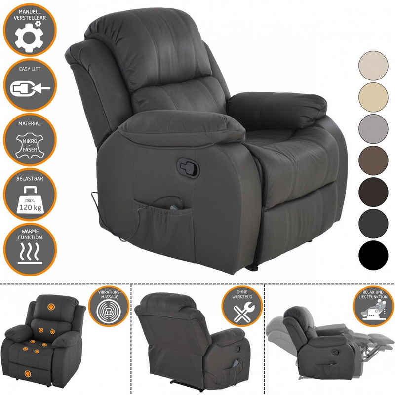 Raburg TV-Sessel »Raburg Fernsehsessel HANNE in SCHIEFER/DUNKELGRAU mit elektrischer Massage - Schlafsessel XXL mit mechanischer Liege- & Relaxfunktion Easy-Lift, aus Soft-Touch-Mikrofaser + leichte Wärme-Funktion«