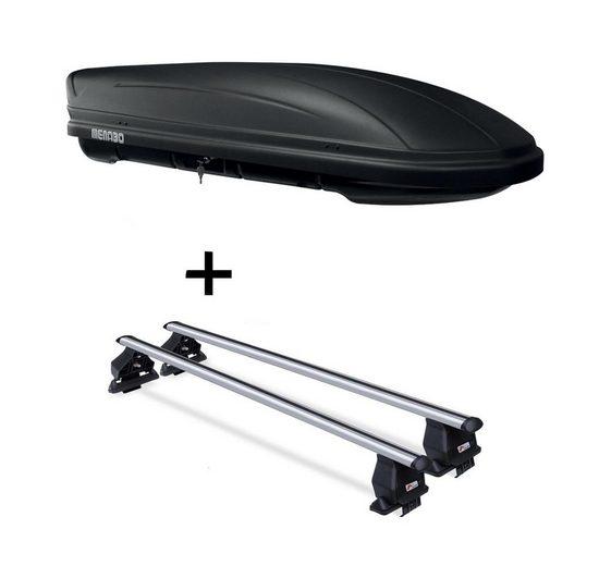 VDP Fahrradträger, Dachbox MAA 400 Liter matt + Dachträger Menabo Tema kompatibel mit Skoda Superb (3T 4 Türer) 2008-2013