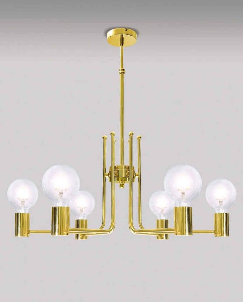 Licht-Erlebnisse Kronleuchter »ELITIA«, Pendelleuchte Küche Echt-Messing mit LED Handarbeit Retro Design