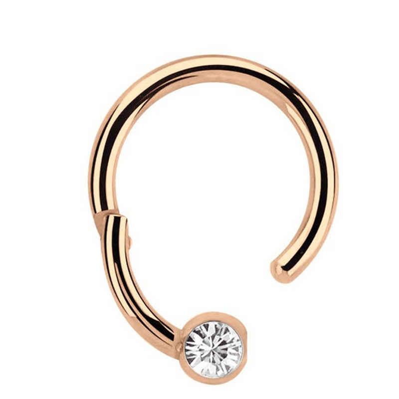 Adelia´s Nasenpiercing »Piercing Ring BCR, Clicker Stahl Rosegold, 3 mm Steinkugel«, Aus 316l Stahl? PVD Rosegold beschichtet