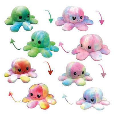 C&T Kuscheltier »Rainbow Oktopus Plüschtier - doppelseitiges Flip-Kuscheltier zum wenden - kunterbunt - Regenbogenfarben«
