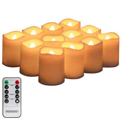 monzana LED-Kerze, 12x mit Fernbedienung Timerfunktion Dimmbar Flammenlose Flackernde Teelichter 12 Stück Batteriebetrieben