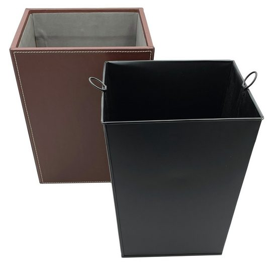 kamelshopping Papierkorb »Mülleimer aus Kunstleder mit Metalleinsatz«, Abfallbehälter mit Kunstleder, 10 Liter, Metalleinsatz, dunkelbraun