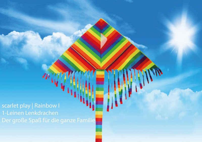 scarlet products Flug-Drache, Einleiner Lenkdrachen »Rainbow I« mit Leine für 30 m Abstand; Größe: ca. 60 x 120 cm; Flugdrachen in Regenbogenfarben mit Streifenschwanz und Troddeln von scarlet play