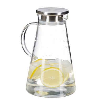 relaxdays Karaffe »Glaskaraffe mit Deckel 1,8 Liter«