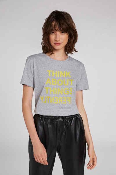 Oui T-Shirt »T-Shirt mit Schriftzug«