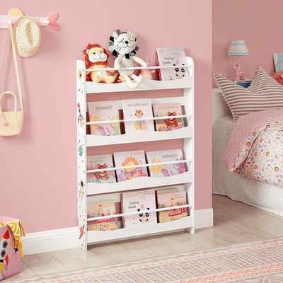 SONGMICS Bücherregal »GKR050W01«, Wandregal für Kinder, Bücher-Organizer mit 4 Ablagen, weiß