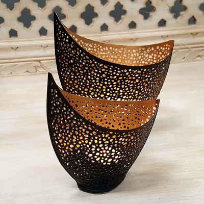 Casa Moro Teelichthalter »Orientalische Windlichter Set Kanja innen Gold außen Schwarz, 2er Set Teelichthalter im marokkanischen Stil, WLS5047« (2 Stück, 2er Set), Kunsthandwerk