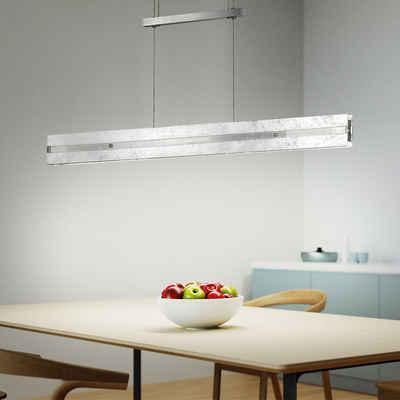 WOFI LED-Hängeleuchte, Hängeleuchte Pendelleuchte Höhenverstellbar LED Deckenlampe Touchdimmer mit 3-Stufen, Aluminium Glas, 1x LED 14,5 Watt 1015 lm warmweiß, LxBxH 91x8x150 cm, WOFI 6379.02.70.7000