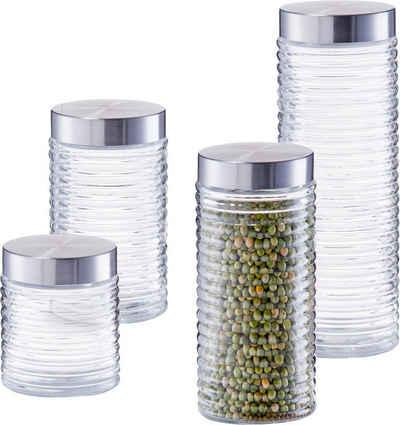 Zeller Present Vorratsglas »gerillt«, Glas, Edelstahl, (Set, 4-tlg)