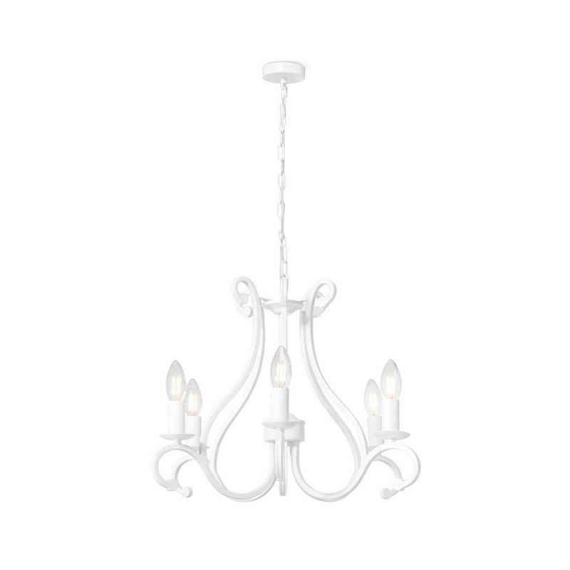 home sweet home Kronleuchter »Kronleuchter LIVA weiß - 5flammig - E14 Fasungen - 94cm Durchmesser - klassisches Design«