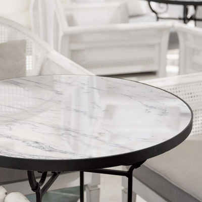 K&L Wall Art Arbeitsplatte »Glas Tischplatte Naturstein Weiß Glastisch Marmor Stein Glasplatte Rund Marmoroptik«