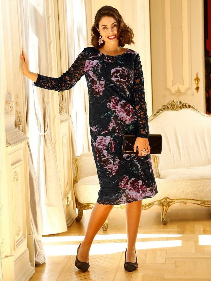 Festtagsmode - m. collection Spitzenkleid mit schönem Blumendruck ›  - Onlineshop OTTO