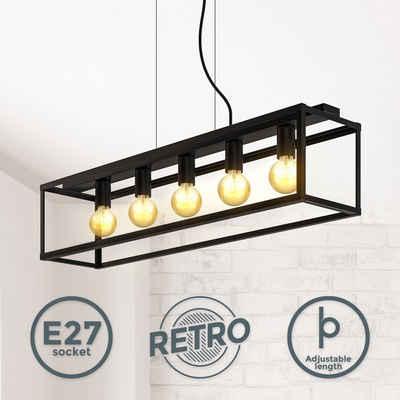 B.K.Licht LED Pendelleuchte, 5-flammige Käfig-Pendelleuchte E27 Fassung Metall höhenverstellbar Schwarz- Matt Cage Deckenlampe