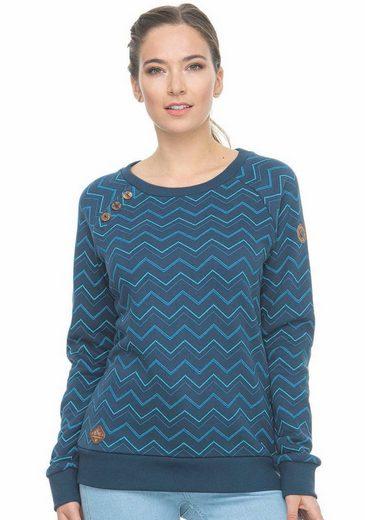 Ragwear Sweater »DARIA ZIG ZAG« mit Zierknopf-Besatz in natürlicher Holzoptik