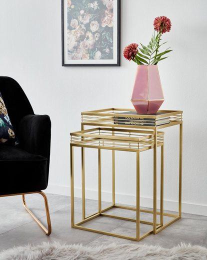 Leonique Beistelltisch »Yanis« (2-St), mit Ablageflächen aus Spiegelglas und goldfarbenem Metallgestell