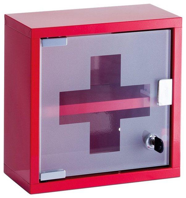 Zeller Present Medizinschrank Metall  rot  25x12x25 cm   Bad > Badmöbel > Medizinschränke   Zeller Present