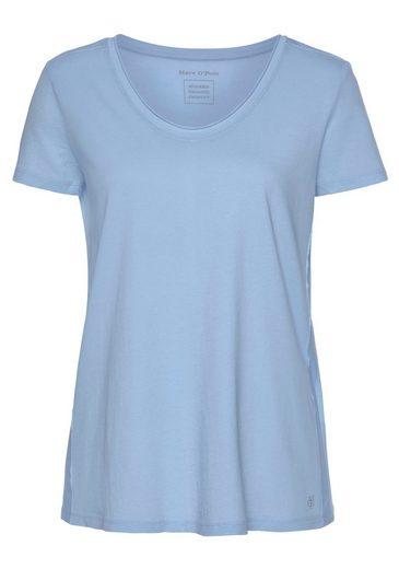Marc O'Polo V-Shirt mit offener Kantenverarbeitung am Ausschnitt und Ärmel