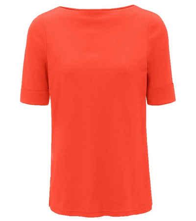 efixelle T-Shirt »effixelle Shirt farbenfrohes Damen Sommer-Shirt Kurzarm mit U-Boot Ausschnitt Haus-Shirt Koralle«