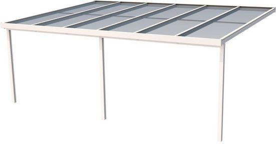 GUTTA Terrassendach »Premium«, BxT: 611x406 cm, Dach Polycarbonat gestreift weiß