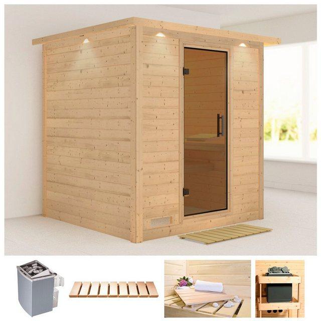 Saunen und Zubehör - KARIBU Sauna »Mojave«, 224x210x206 cm, 9 kW Ofen mit int. Steuerung, Dachkranz  - Onlineshop OTTO