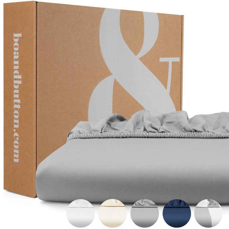 Spannbettlaken »Mako Satin«, bo&button, Echte Bio Luxusqualität - ALLE GRÖßEN für Matratzen & Boxspringbett Topper - 100% Baumwolle, GOTS & Fairtrade